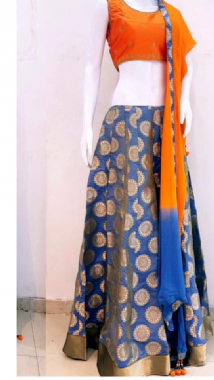 Patterned Blue Lehenga With A Contrast Blouse